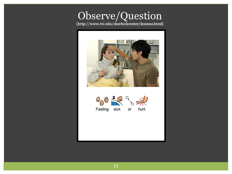 11 Observe/Question (http://www.ric.edu/sherlockcenter/lessons.html)