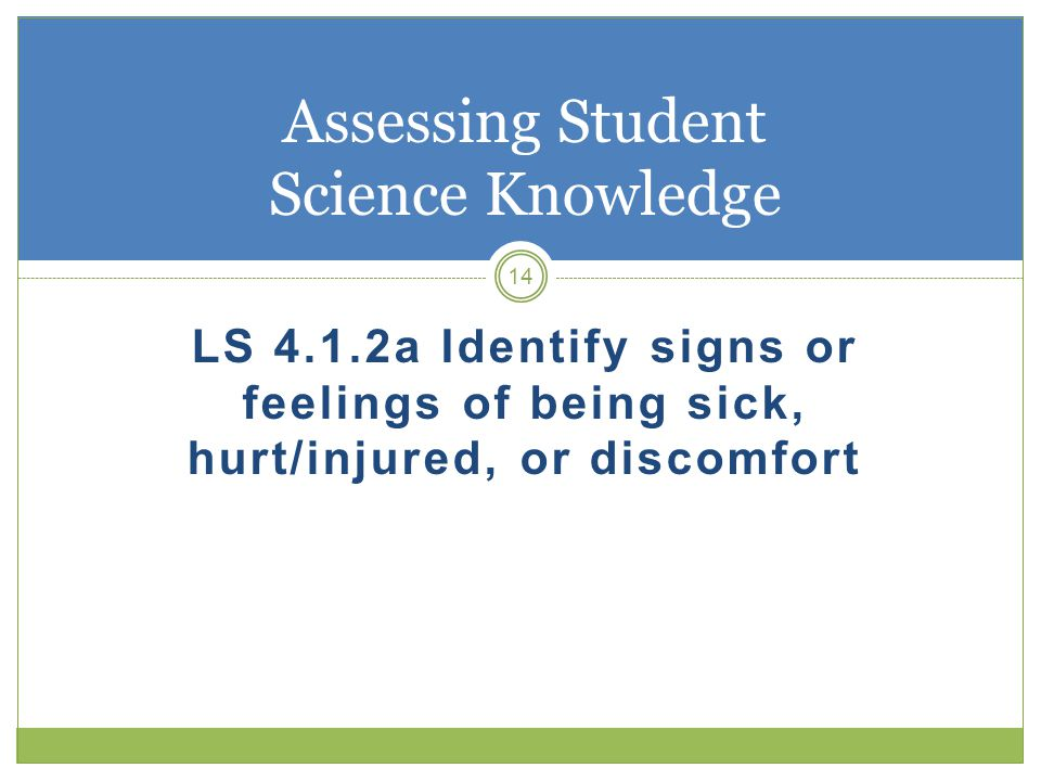LS 4.1.2a Identify signs or feelings of being sick, hurt/injured, or discomfort 14 Assessing Student Science Knowledge