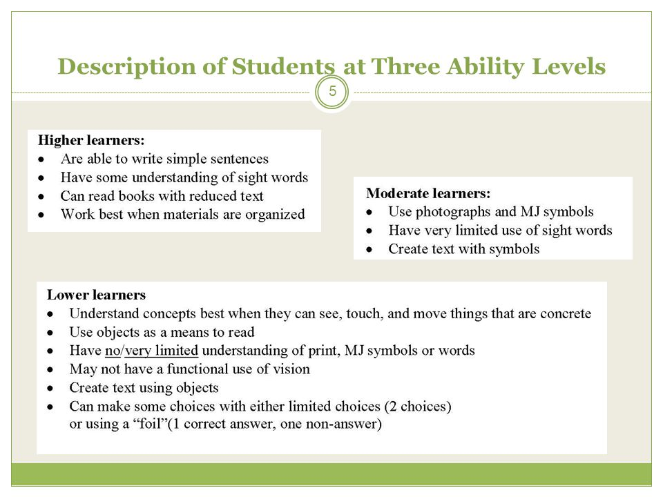 Description of Students at Three Ability Levels 5