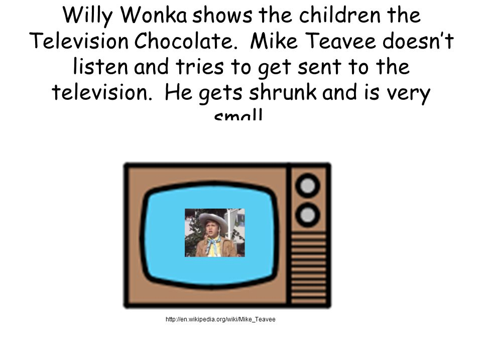 Willy Wonka shows the children the Television Chocolate.