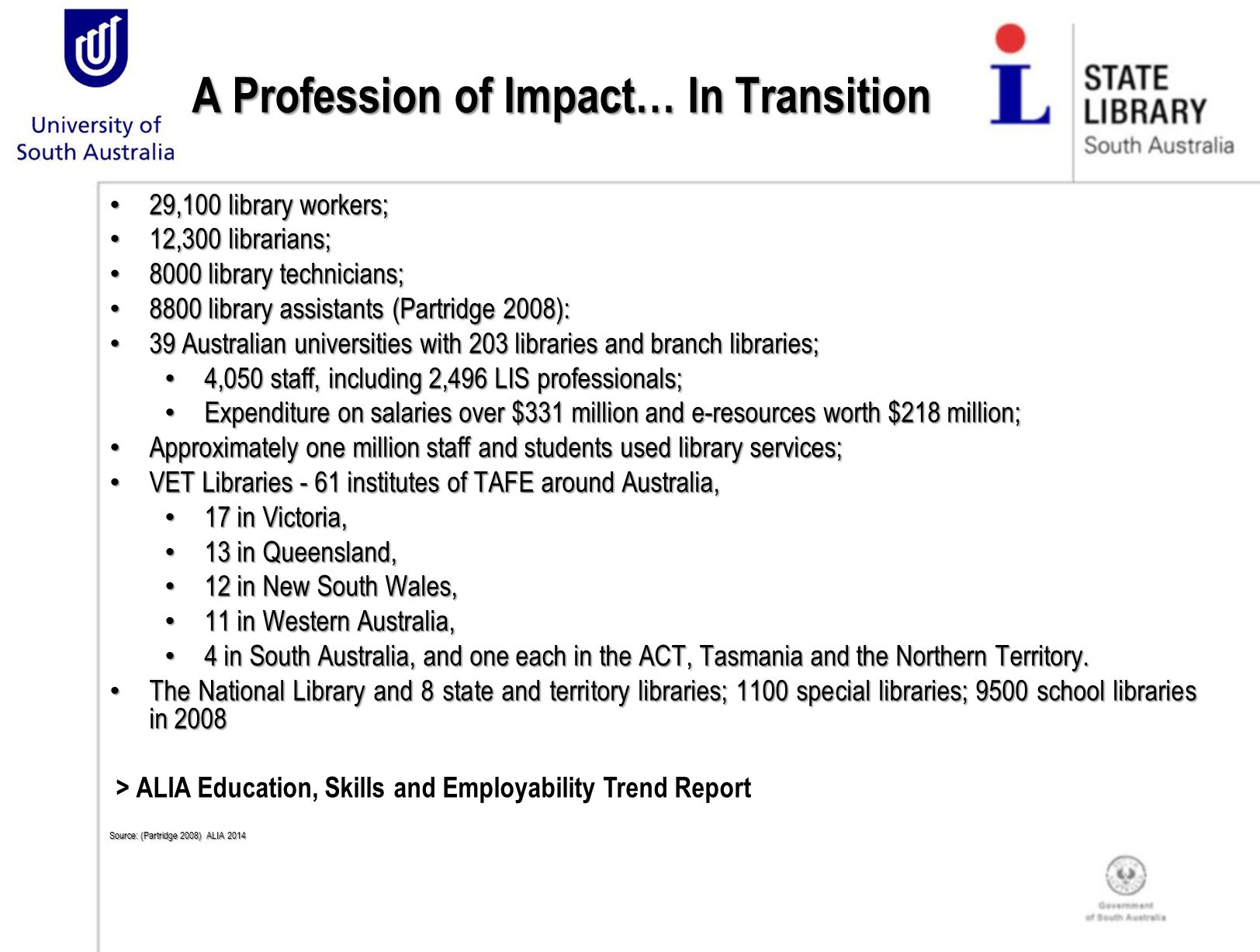 A Profession of Impact… In Transition 29,100 library workers; 29,100 library workers; 12,300 librarians; 12,300 librarians; 8000 library technicians; 8000 library technicians; 8800 library assistants (Partridge 2008): 8800 library assistants (Partridge 2008): 39 Australian universities with 203 libraries and branch libraries; 39 Australian universities with 203 libraries and branch libraries; 4,050 staff, including 2,496 LIS professionals; 4,050 staff, including 2,496 LIS professionals; Expenditure on salaries over $331 million and e-resources worth $218 million; Expenditure on salaries over $331 million and e-resources worth $218 million; Approximately one million staff and students used library services; Approximately one million staff and students used library services; VET Libraries - 61 institutes of TAFE around Australia, VET Libraries - 61 institutes of TAFE around Australia, 17 in Victoria, 17 in Victoria, 13 in Queensland, 13 in Queensland, 12 in New South Wales, 12 in New South Wales, 11 in Western Australia, 11 in Western Australia, 4 in South Australia, and one each in the ACT, Tasmania and the Northern Territory.