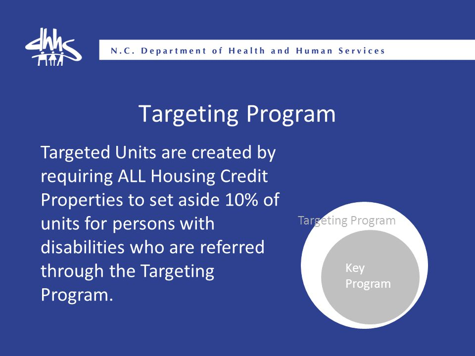 Targeting Program Targeted Units are created by requiring ALL Housing Credit Properties to set aside 10% of units for persons with disabilities who ar