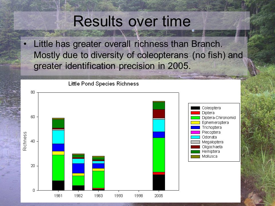 Results over time Little has greater overall richness than Branch.