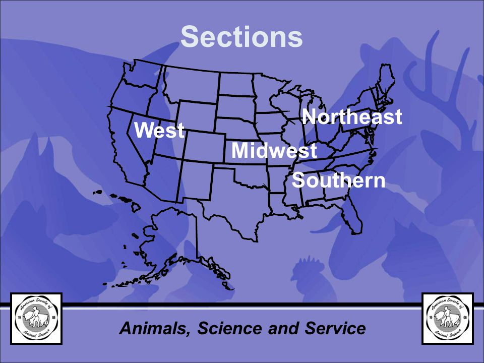 Sections Midwest Southern Northeast West Animals, Science and Service
