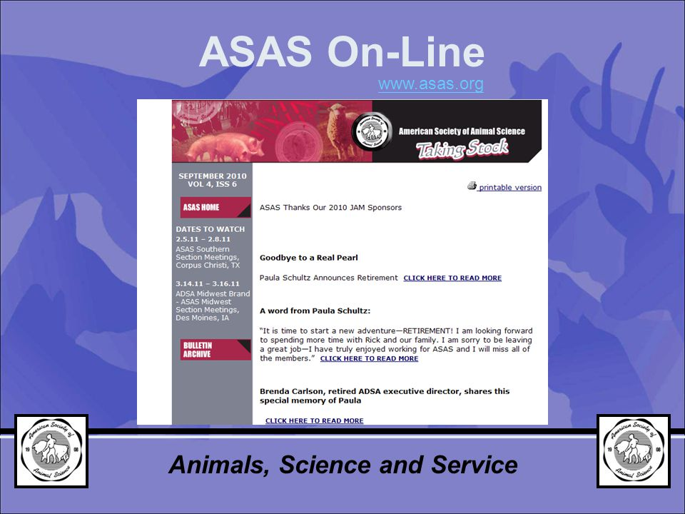 Animals, Science and Service ASAS On-Line www.asas.org