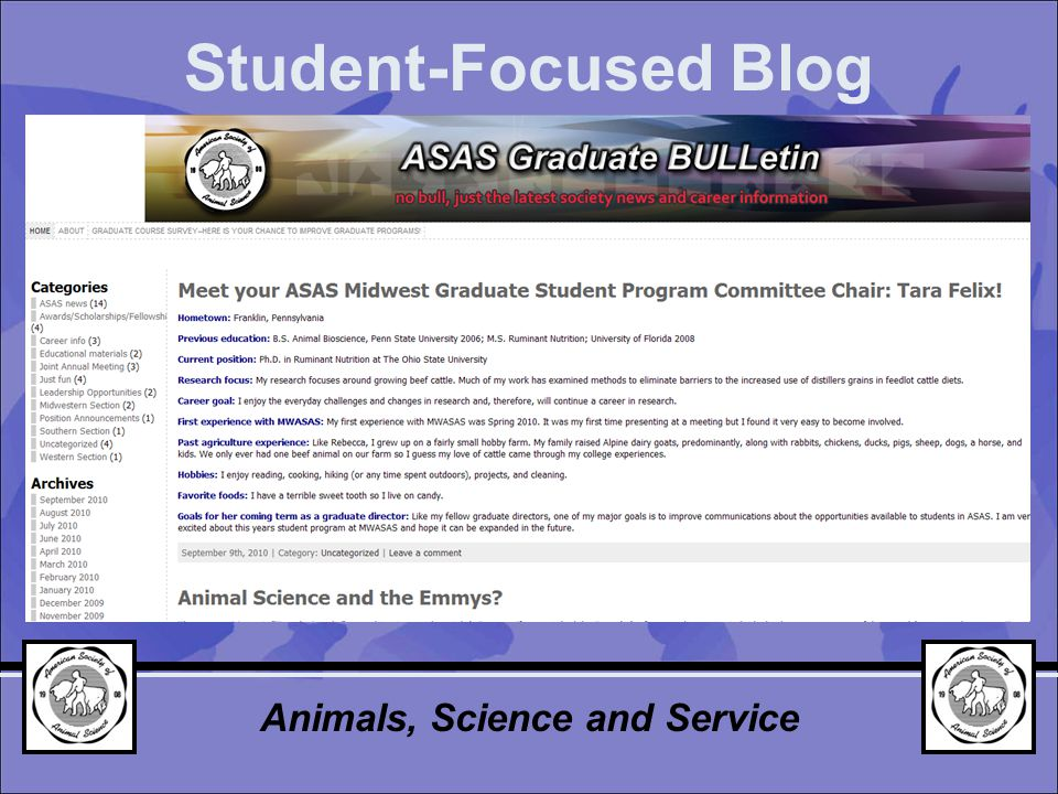 Student-Focused Blog Animals, Science and Service