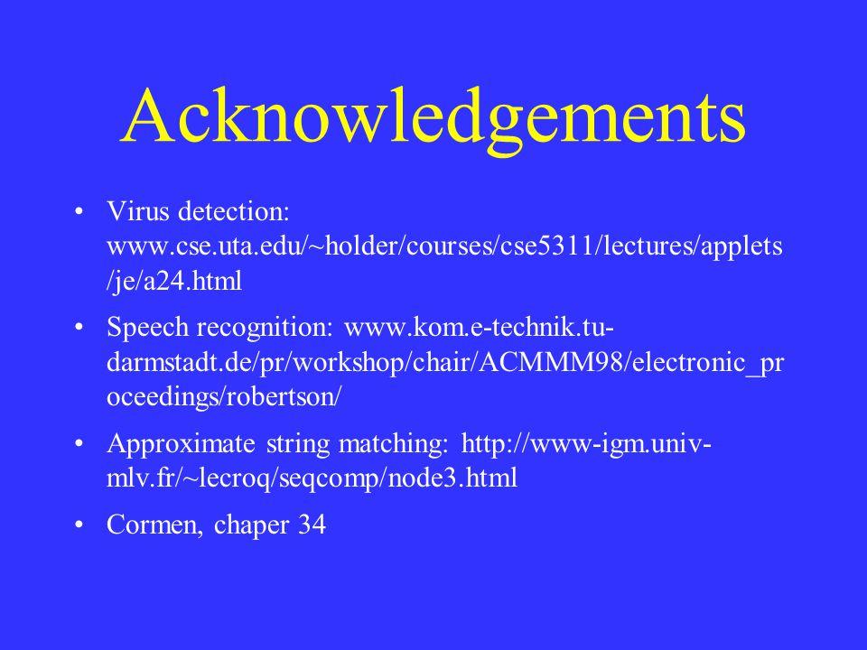 Acknowledgements Virus detection: www.cse.uta.edu/~holder/courses/cse5311/lectures/applets /je/a24.html Speech recognition: www.kom.e-technik.tu- darmstadt.de/pr/workshop/chair/ACMMM98/electronic_pr oceedings/robertson/ Approximate string matching: http://www-igm.univ- mlv.fr/~lecroq/seqcomp/node3.html Cormen, chaper 34