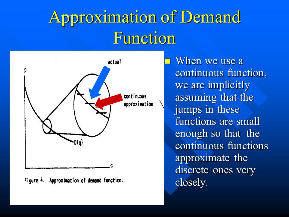 Approximation of Demand Function When we use a continuous function, we are implicitly assuming that the jumps in these functions are small enough so that the continuous functions approximate the discrete ones very closely.