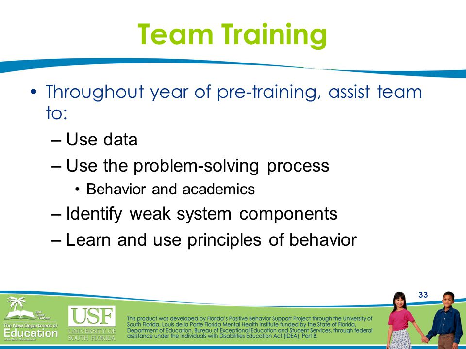 33 Team Training Throughout year of pre-training, assist team to: –Use data –Use the problem-solving process Behavior and academics –Identify weak system components –Learn and use principles of behavior