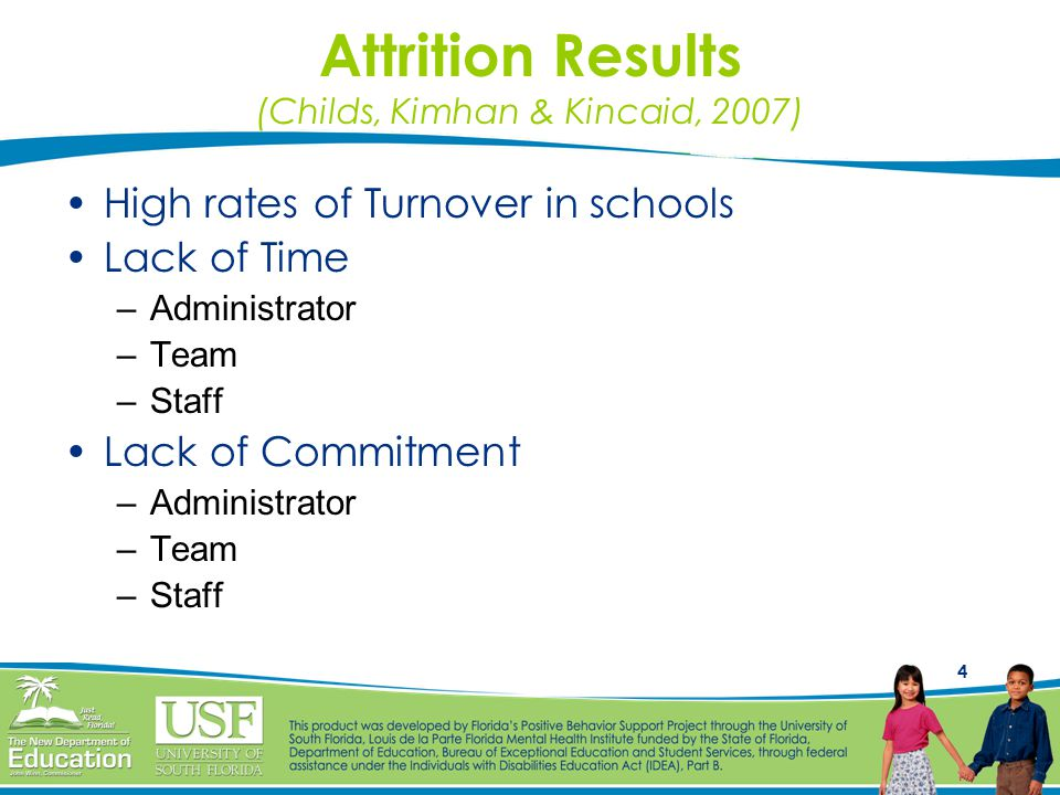 4 Attrition Results (Childs, Kimhan & Kincaid, 2007) High rates of Turnover in schools Lack of Time –Administrator –Team –Staff Lack of Commitment –Administrator –Team –Staff