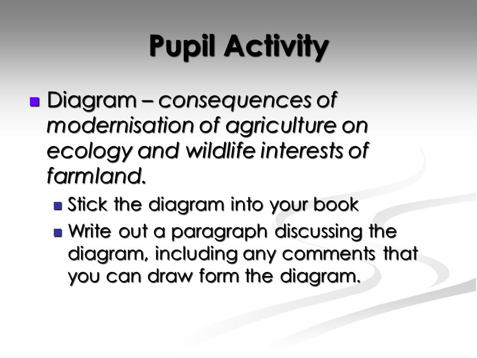 Pupil Activity Diagram – consequences of modernisation of agriculture on ecology and wildlife interests of farmland.