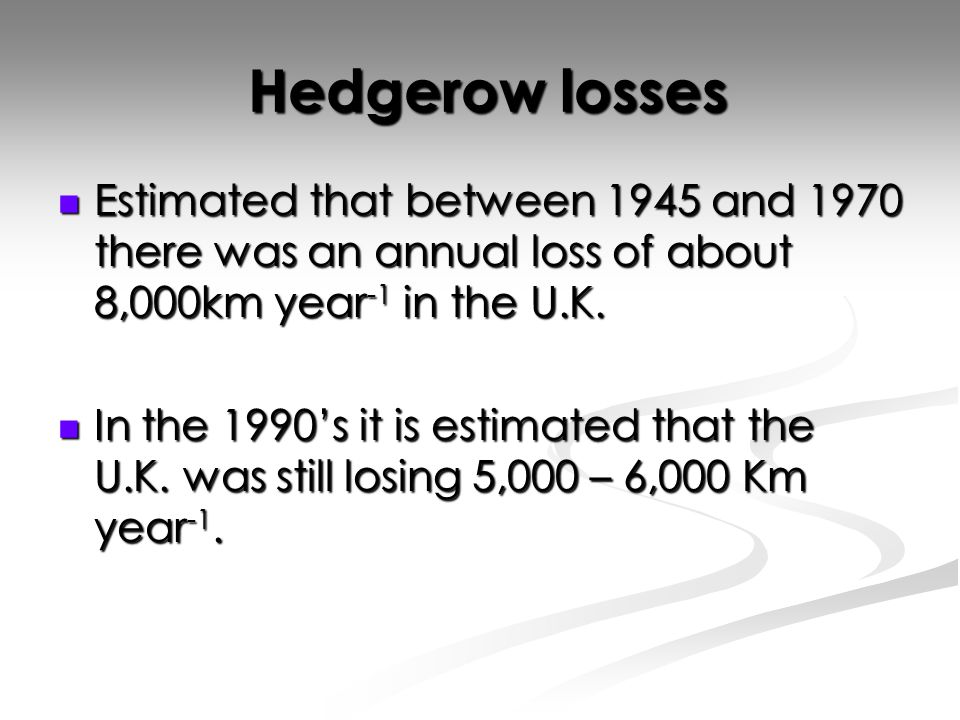 Hedgerow losses Hedgerow losses Estimated that between 1945 and 1970 there was an annual loss of about 8,000km year -1 in the U.K.