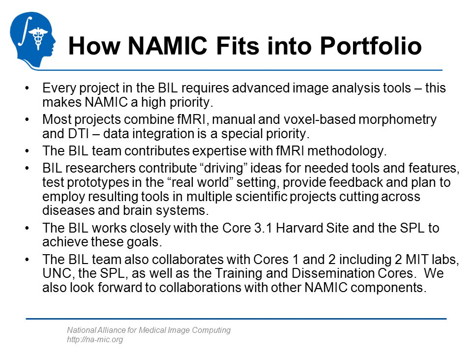 National Alliance for Medical Image Computing http://na-mic.org How NAMIC Fits into Portfolio Every project in the BIL requires advanced image analysis tools – this makes NAMIC a high priority.