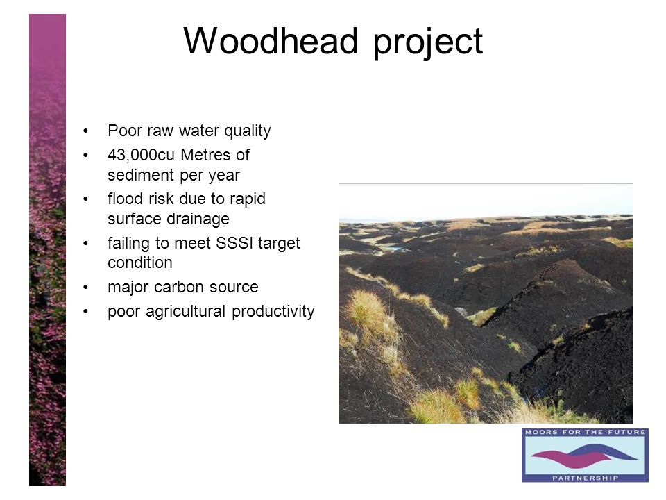 10 Woodhead project Poor raw water quality 43,000cu Metres of sediment per year flood risk due to rapid surface drainage failing to meet SSSI target c