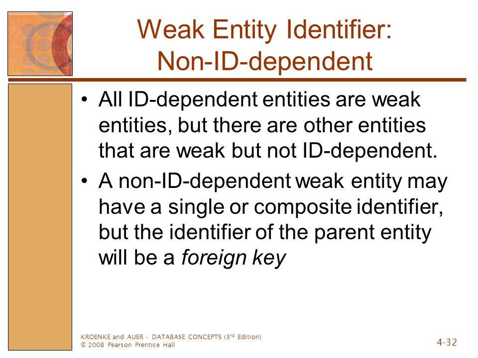 KROENKE and AUER - DATABASE CONCEPTS (3 rd Edition) © 2008 Pearson Prentice Hall 4-32 Weak Entity Identifier: Non-ID-dependent All ID-dependent entities are weak entities, but there are other entities that are weak but not ID-dependent.