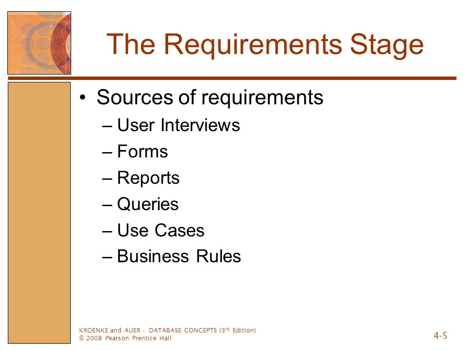 KROENKE and AUER - DATABASE CONCEPTS (3 rd Edition) © 2008 Pearson Prentice Hall 4-5 The Requirements Stage Sources of requirements –User Interviews –Forms –Reports –Queries –Use Cases –Business Rules