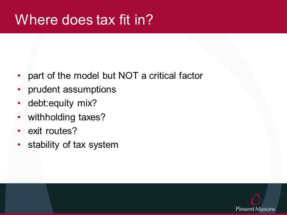 Where does tax fit in.