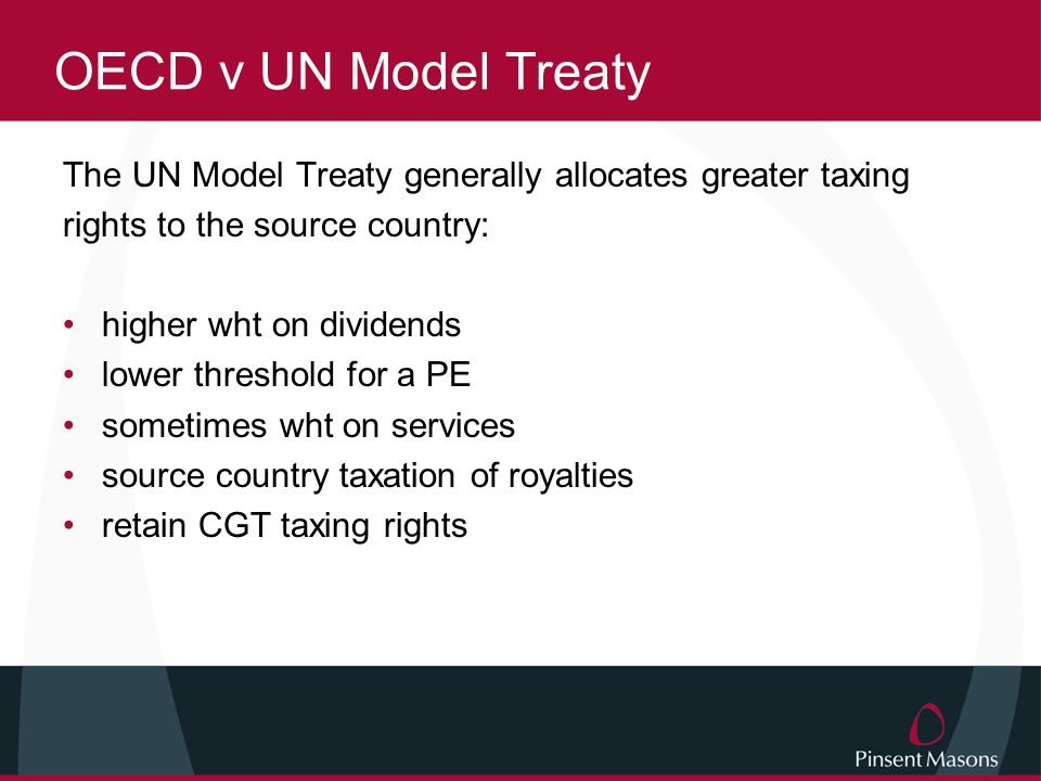 Treaty patterns in Less Developed Countries often based on original colonial influences unequal bargaining power lack of strategic planning OECD model often prevails