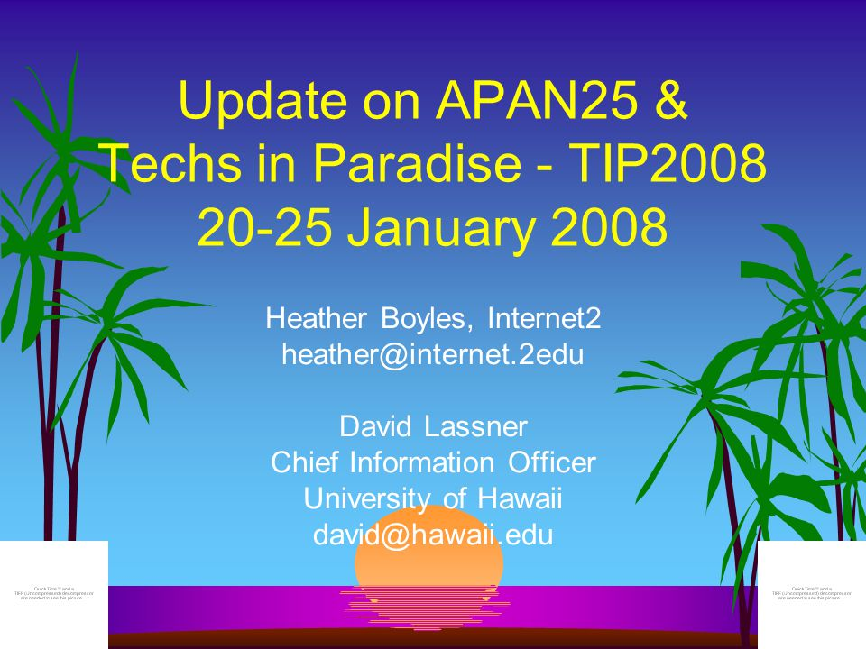 The Concept l APAN25 jointly managed with the Internet2/ESCC Joint Techs Workshop l Fosters interaction between the AP and North American R&E networking communities l Builds on proven successes and lessons of TIP2001 and TIP2004 APAN25 represents APAN's Silver Anniversary meeting