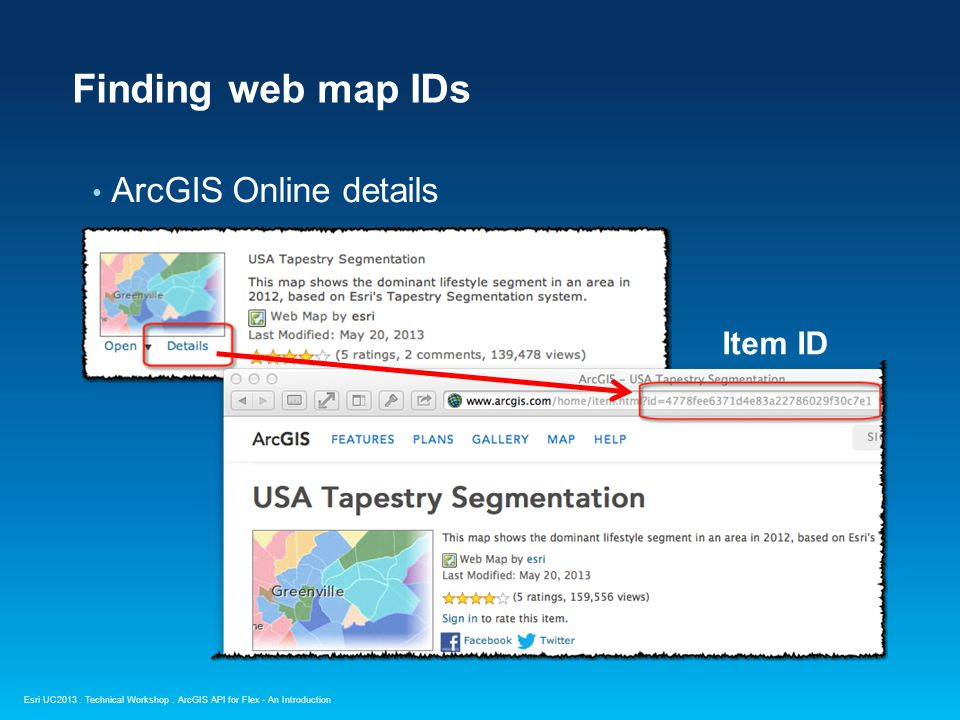 Esri UC2013. Technical Workshop. ArcGIS Online details Finding web map IDs ArcGIS API for Flex - An Introduction Item ID