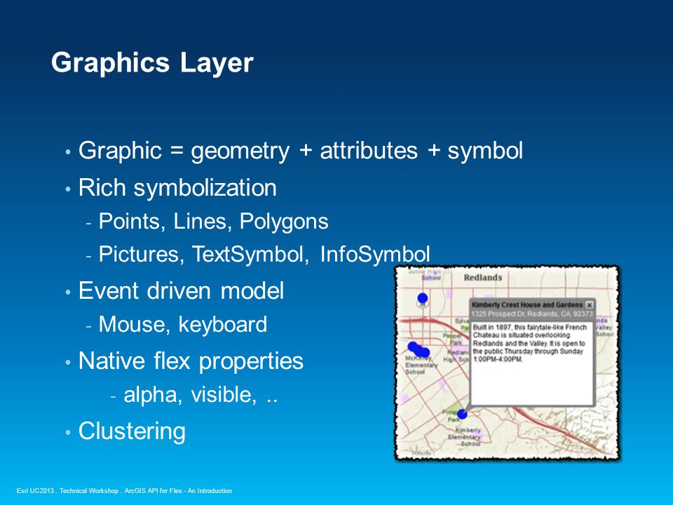 Esri UC2013. Technical Workshop. Graphic = geometry + attributes + symbol Rich symbolization - Points, Lines, Polygons - Pictures, TextSymbol, InfoSym