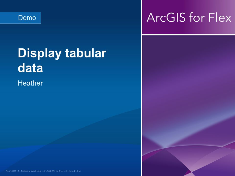 Esri UC2013. Technical Workshop. Heather Display tabular data Demo ArcGIS API for Flex - An Introduction