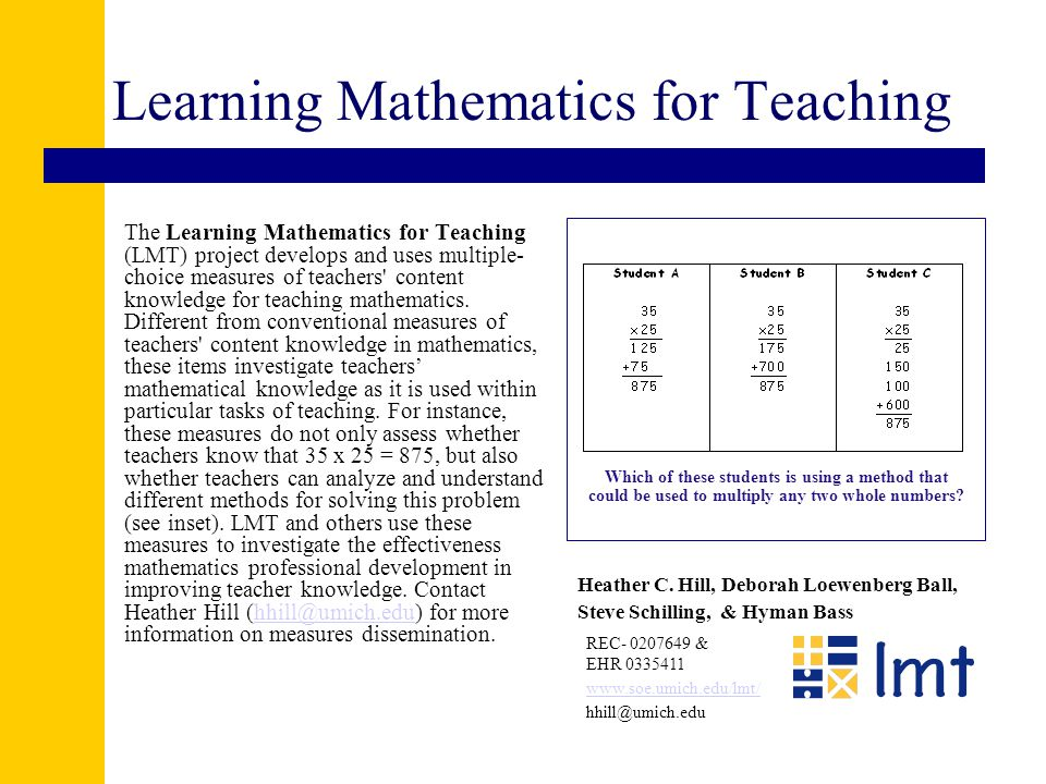 Available measures Multiple-choice measures of teachers' knowledge for teaching: –Number and operations, K-6 –Patterns, functions, and algebra K-6 –Geometry, 3-8 DRAFT middle school measures—June 2004 –Number and operation –Pre-algebra and algebra –Geometry –Multiplicative reasoning
