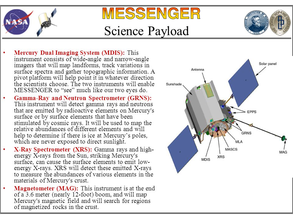 Science Payload Mercury Dual Imaging System (MDIS): This instrument consists of wide-angle and narrow-angle imagers that will map landforms, track variations in surface spectra and gather topographic information.