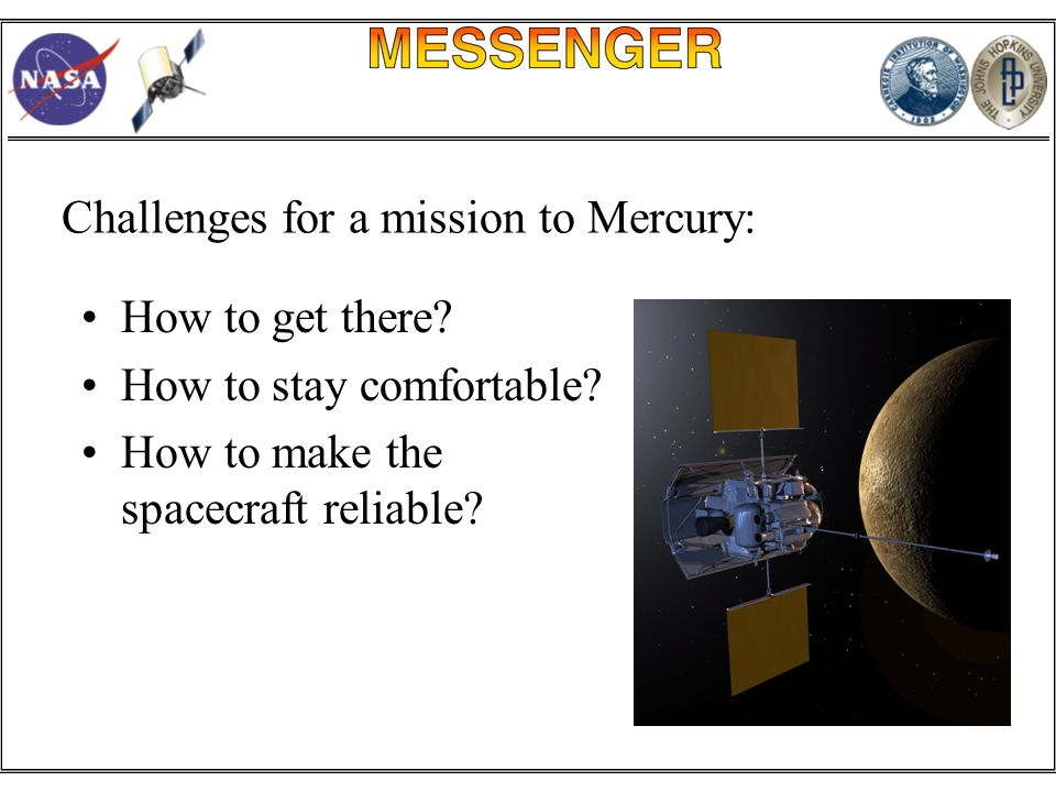 How to get there. How to stay comfortable. How to make the spacecraft reliable.