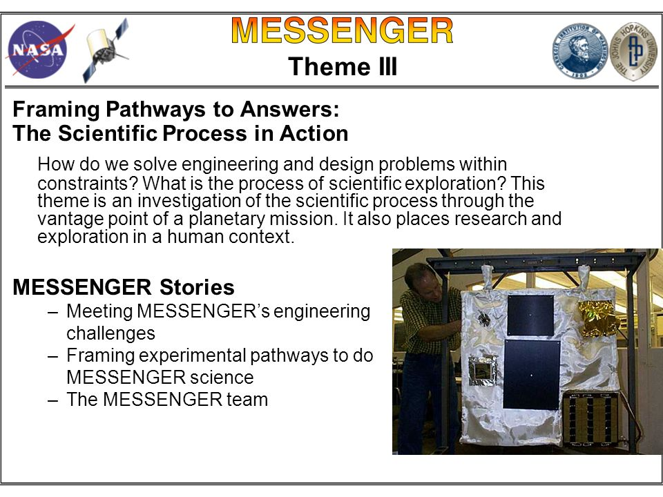 Theme III Framing Pathways to Answers: The Scientific Process in Action How do we solve engineering and design problems within constraints.