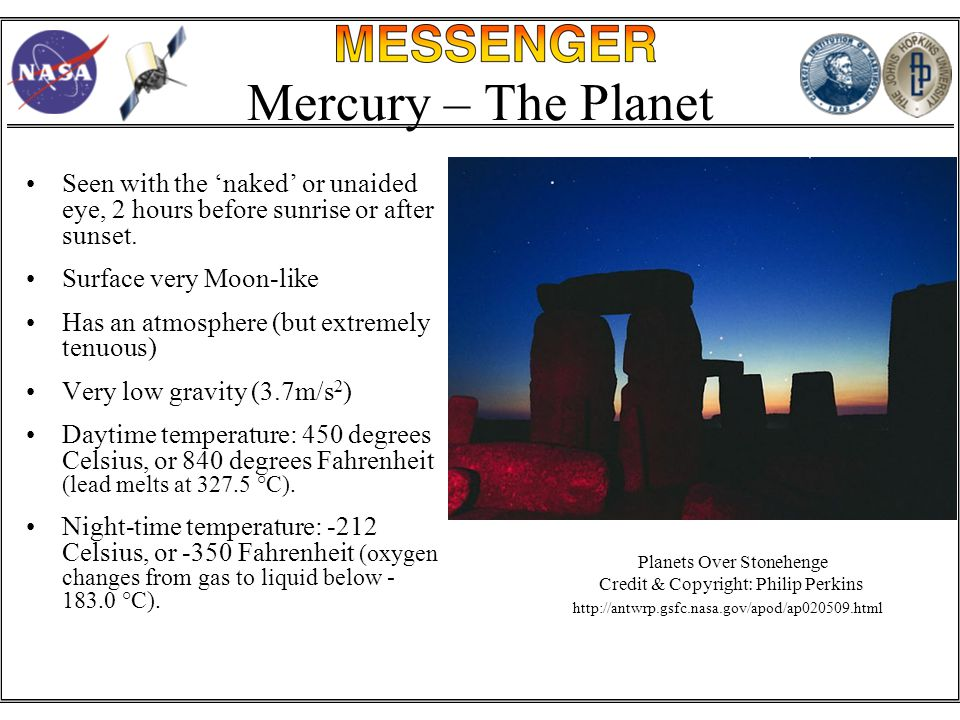 Mercury – The Planet Seen with the 'naked' or unaided eye, 2 hours before sunrise or after sunset.