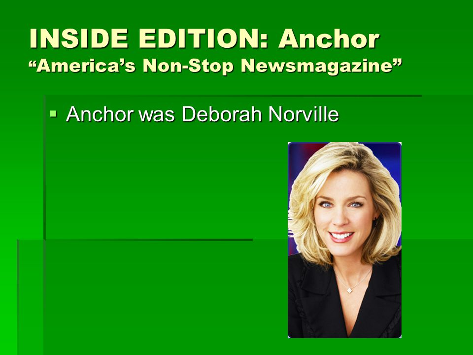 INSIDE EDITION: Anchor America's Non-Stop Newsmagazine  Anchor was Deborah Norville