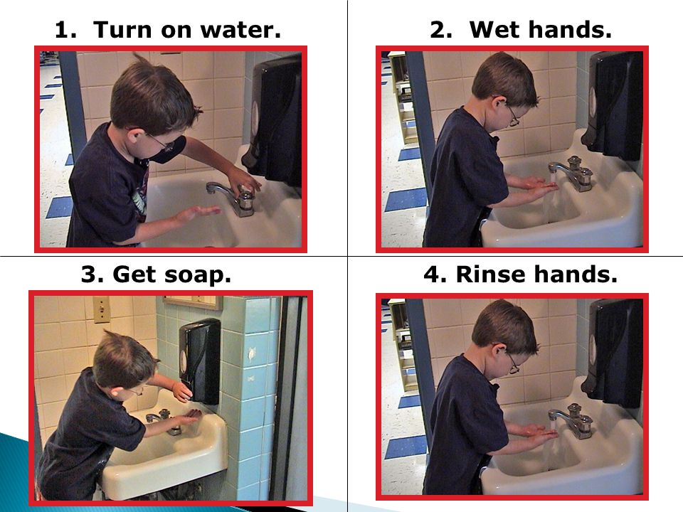 1. Turn on water.2. Wet hands. 3. Get soap.4. Rinse hands.