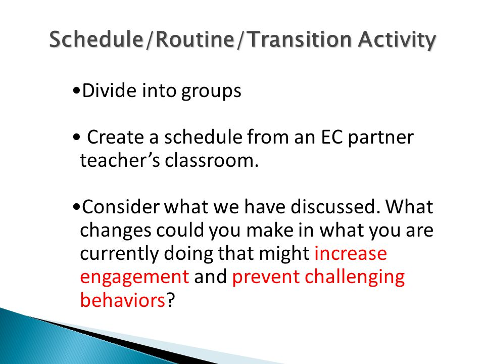 Schedule/Routine/Transition Activity Divide into groups Create a schedule from an EC partner teacher's classroom.