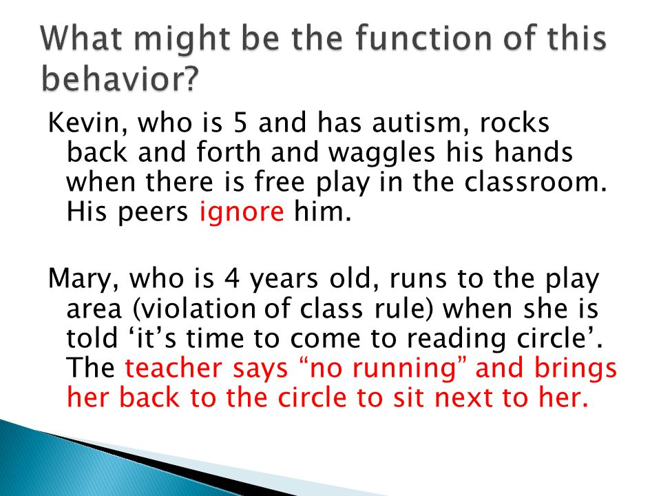 Kevin, who is 5 and has autism, rocks back and forth and waggles his hands when there is free play in the classroom.
