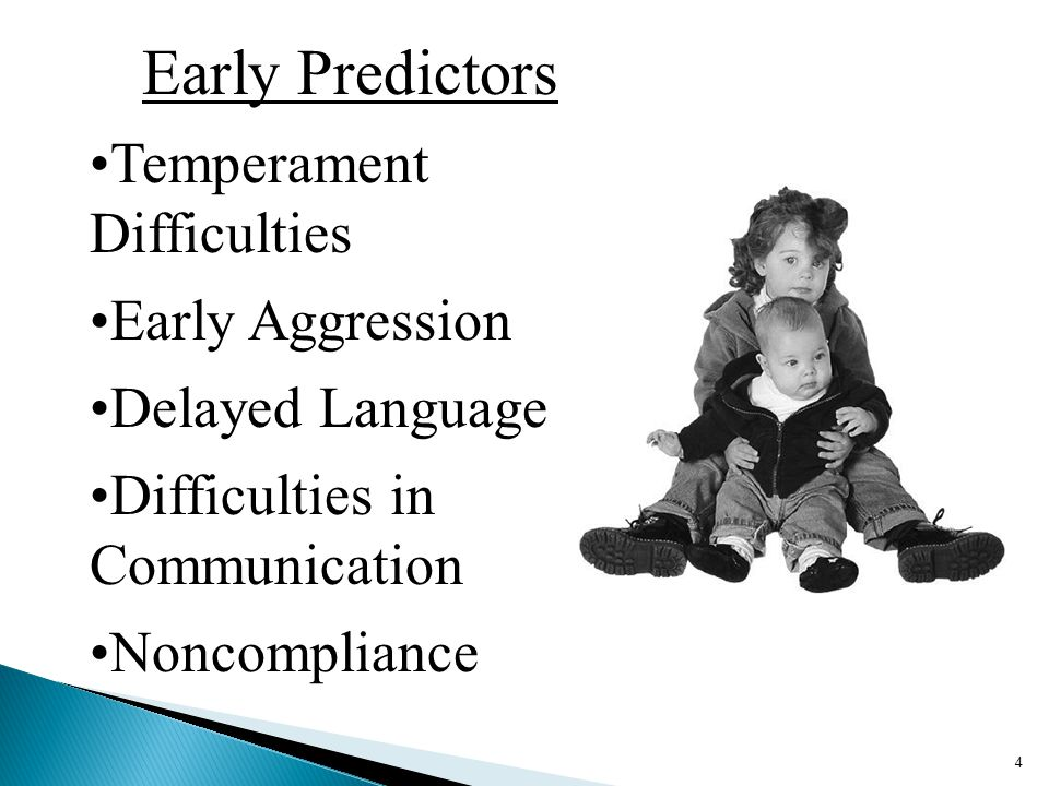 4 Early Predictors Temperament Difficulties Early Aggression Delayed Language Difficulties in Communication Noncompliance