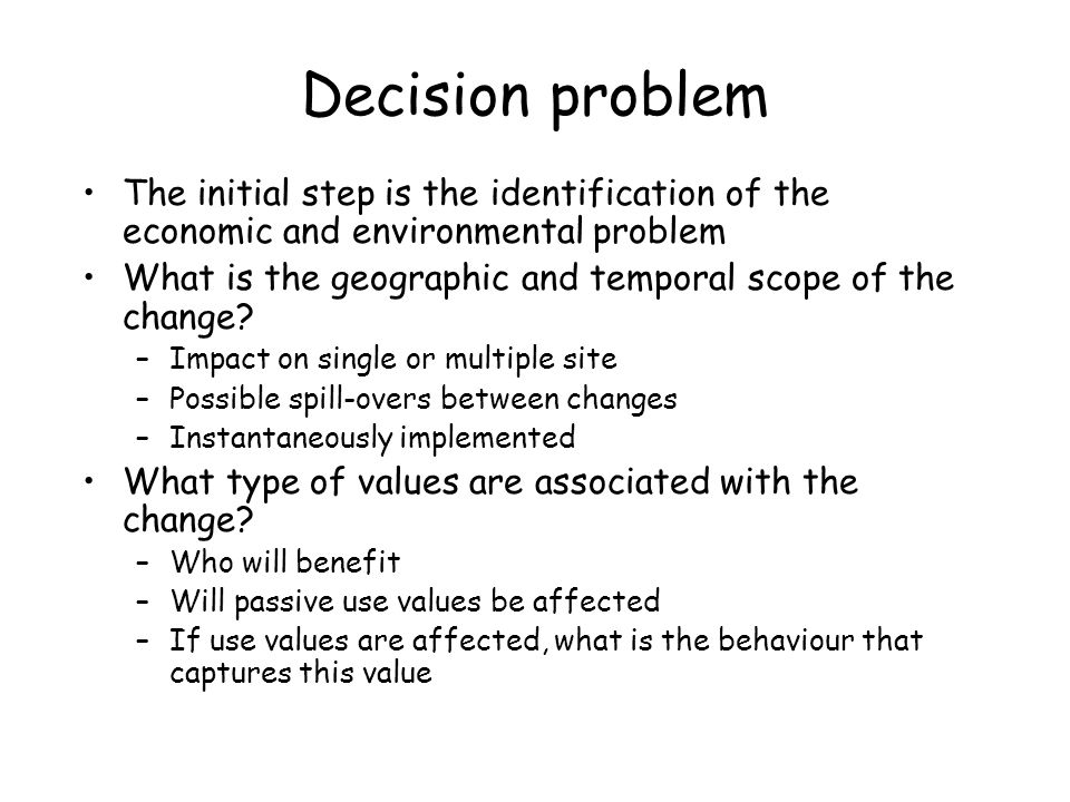 Decision problem The initial step is the identification of the economic and environmental problem What is the geographic and temporal scope of the cha