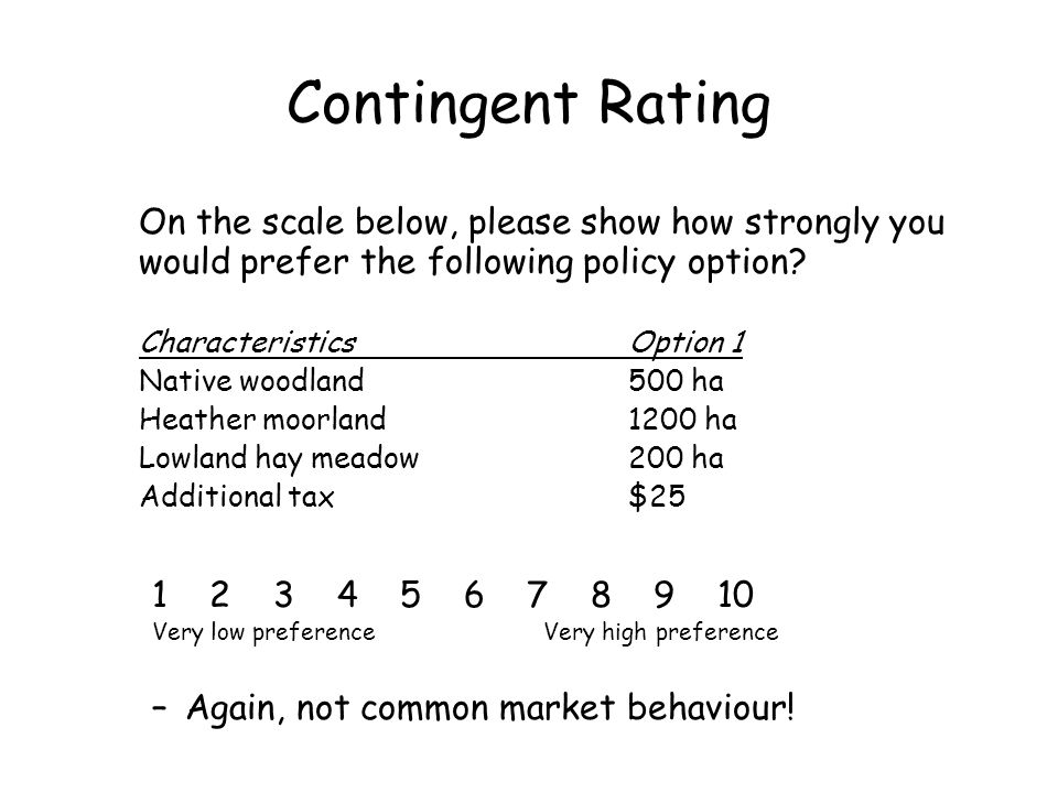 Contingent Rating On the scale below, please show how strongly you would prefer the following policy option? CharacteristicsOption 1 Native woodland50