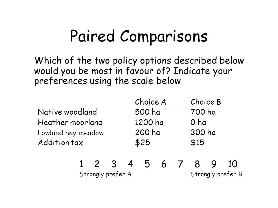 Paired Comparisons Which of the two policy options described below would you be most in favour of? Indicate your preferences using the scale below Cho