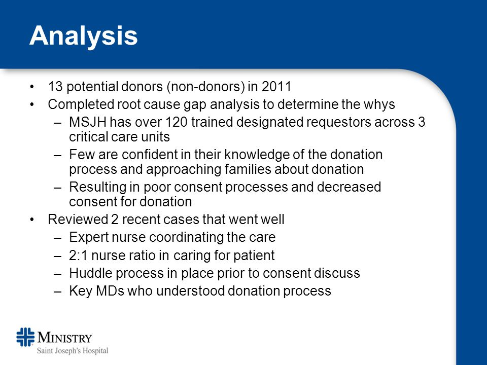 Analysis 13 potential donors (non-donors) in 2011 Completed root cause gap analysis to determine the whys –MSJH has over 120 trained designated requestors across 3 critical care units –Few are confident in their knowledge of the donation process and approaching families about donation –Resulting in poor consent processes and decreased consent for donation Reviewed 2 recent cases that went well –Expert nurse coordinating the care –2:1 nurse ratio in caring for patient –Huddle process in place prior to consent discuss –Key MDs who understood donation process
