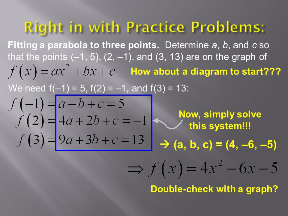 Fitting a parabola to three points.