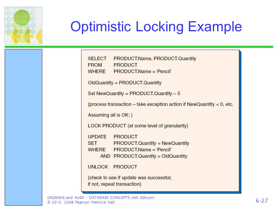 Optimistic Locking Example KROENKE and AUER - DATABASE CONCEPTS (4th Edition) © 2010, 2008 Pearson Prentice Hall 6-27