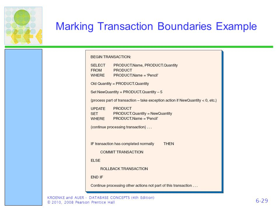 Marking Transaction Boundaries Example KROENKE and AUER - DATABASE CONCEPTS (4th Edition) © 2010, 2008 Pearson Prentice Hall 6-29