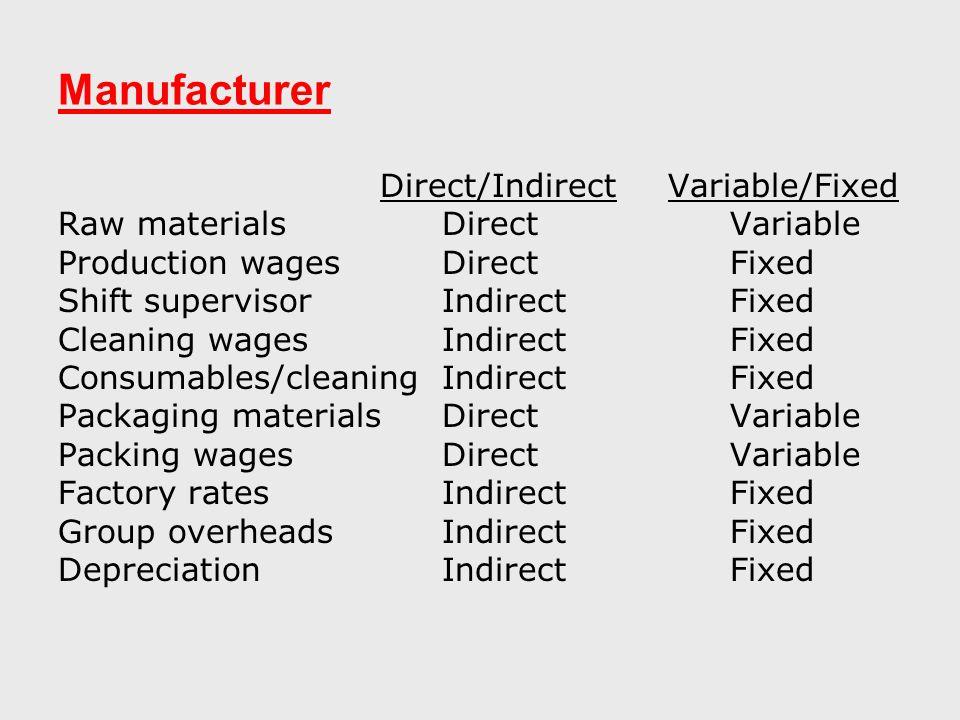 Manufacturer Direct/Indirect Variable/Fixed Raw materialsDirectVariable Production wagesDirectFixed Shift supervisorIndirectFixed Cleaning wagesIndirectFixed Consumables/cleaningIndirectFixed Packaging materialsDirectVariable Packing wagesDirectVariable Factory ratesIndirectFixed Group overheadsIndirectFixed Depreciation IndirectFixed