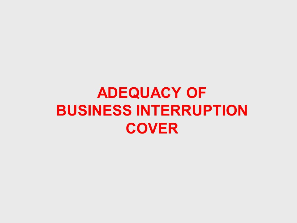 ADEQUACY OF BUSINESS INTERRUPTION COVER