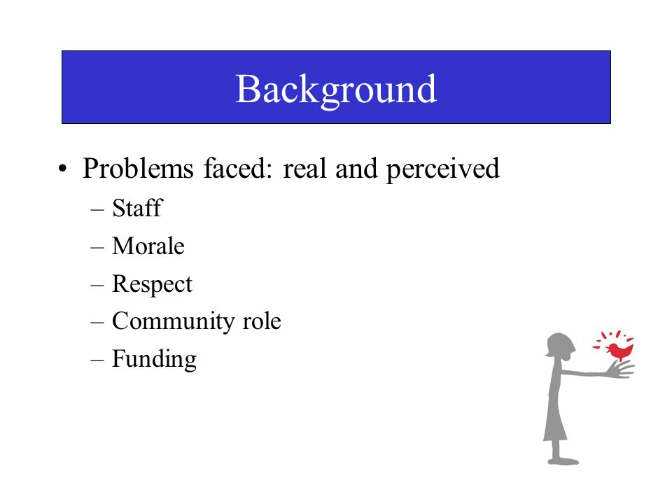 Background Problems faced: real and perceived –Staff –Morale –Respect –Community role –Funding