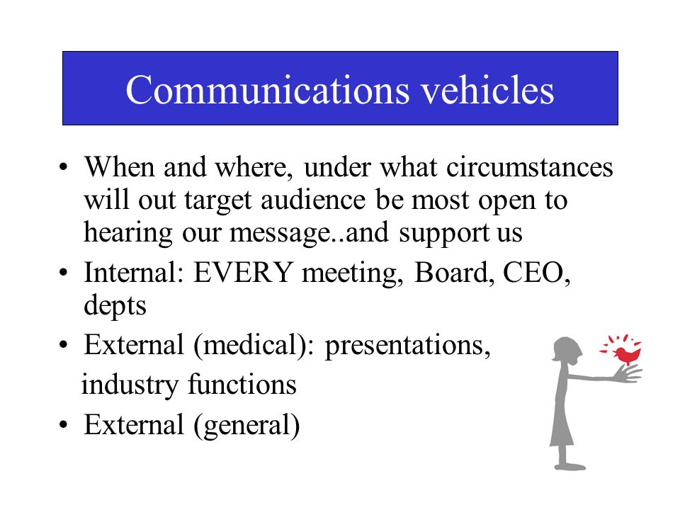 Communications vehicles When and where, under what circumstances will out target audience be most open to hearing our message..and support us Internal: EVERY meeting, Board, CEO, depts External (medical): presentations, industry functions External (general)