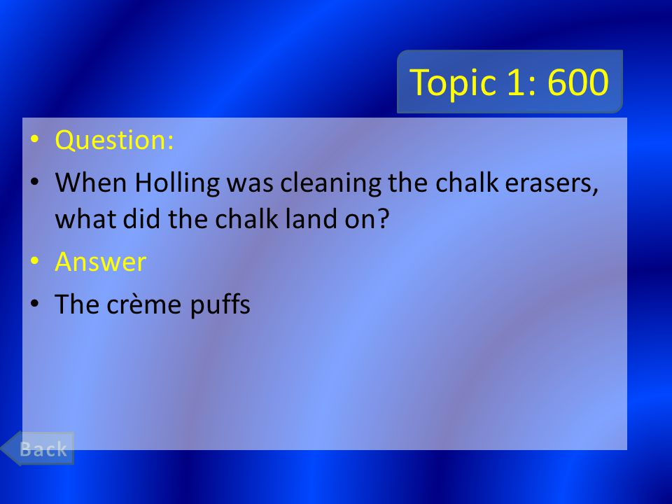 Topic 1: 600 Question: When Holling was cleaning the chalk erasers, what did the chalk land on.