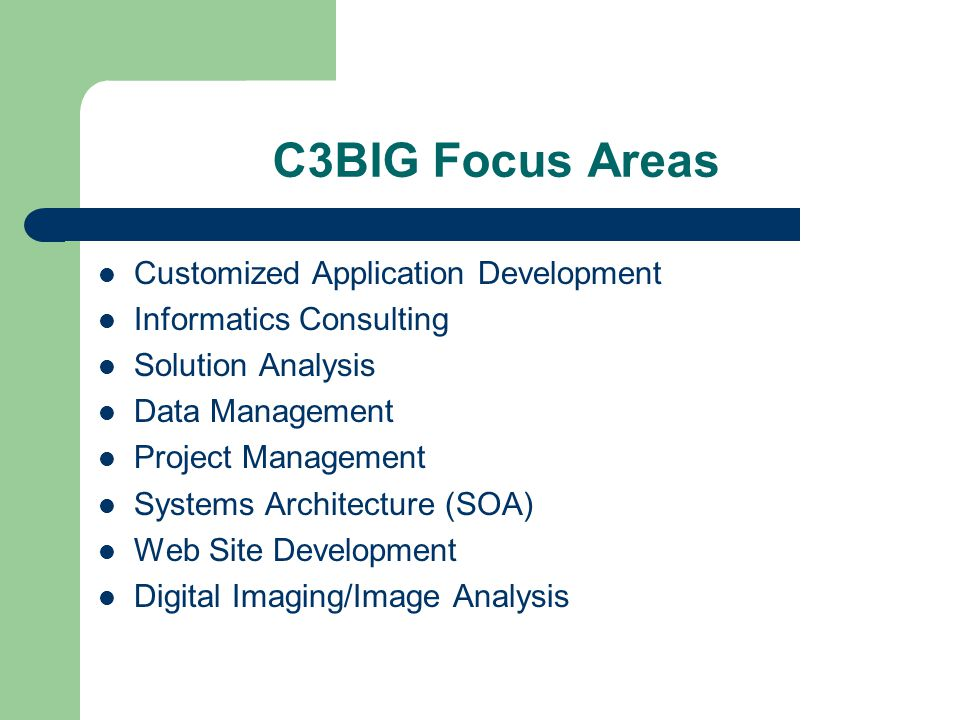 C3BIG Focus Areas Customized Application Development Informatics Consulting Solution Analysis Data Management Project Management Systems Architecture (SOA) Web Site Development Digital Imaging/Image Analysis