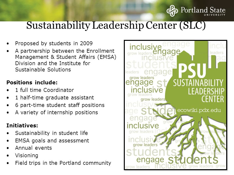 Sustainability Leadership Center (SLC) Proposed by students in 2009 A partnership between the Enrollment Management & Student Affairs (EMSA) Division and the Institute for Sustainable Solutions Positions include: 1 full time Coordinator 1 half-time graduate assistant 6 part-time student staff positions A variety of internship positions Initiatives: Sustainability in student life EMSA goals and assessment Annual events Visioning Field trips in the Portland community